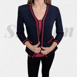 ST. JOHN Fitted Navy Blazer With Red Trim